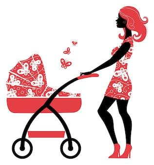 Silueta, de, hermoso, madre, con, cochecito de bebé