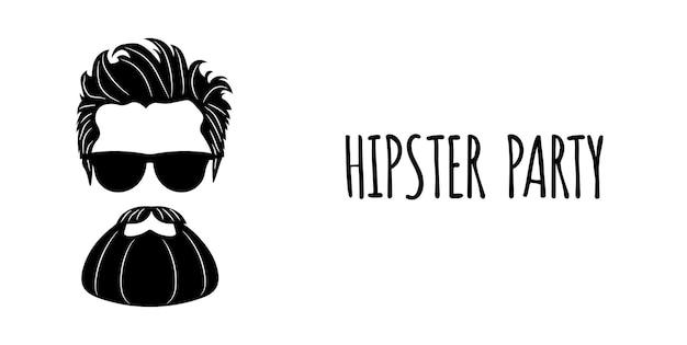 Silueta de hipster barbudo con letras - fiesta hipster. moda ilustración vectorial eps 10 aislado sobre fondo blanco.