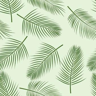 Silueta de hojas de palma en el patrón de fondo blanco sin fisuras con plantas tropicales.