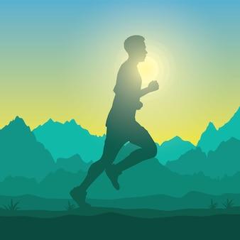 Silueta de hombre corriendo en el campo