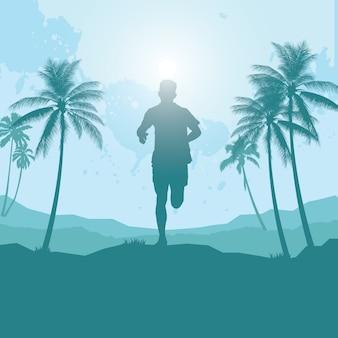 Silueta de hombre corriendo en la playa
