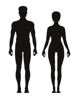 Silueta de hombre deportivo y femenino de pie vista frontal. modelos de anatomia vectorial