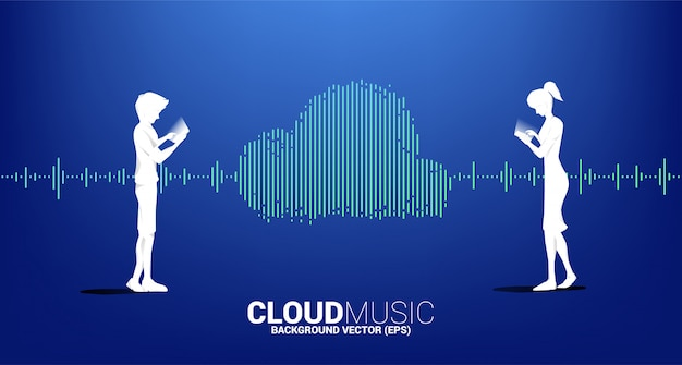 Silueta de hombre y mujer con música de nube y tecnología de sonido concepto .equalizer onda como forma de nube