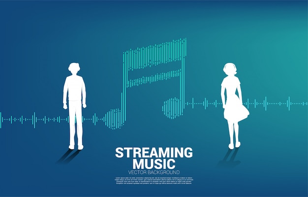 Silueta de hombre y mujer con onda de ecualizador como nota musical. concepto de música y tecnología de sonido.