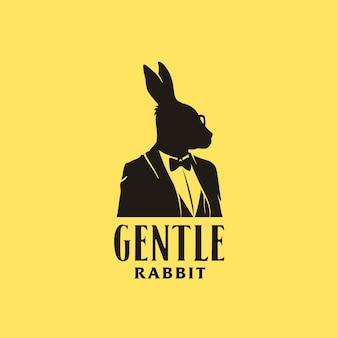 Silueta de hombre de negocios de conejo con traje de esmoquin