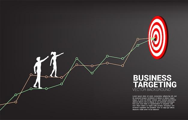La silueta del hombre de negocios y la empresaria apuntan al tablero de dardos en línea al centro del tablero de dardos