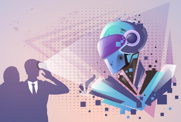 Silueta de hombre de negocios realidad virtual gafas digitales ver robot moderno