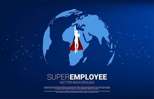 Silueta de hombre de negocios volando desde el globo del mundo. concepto de negocio de la misión de destino mundial.