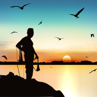 Silueta del hombre que espera para coger los pescados en crepúsculo.