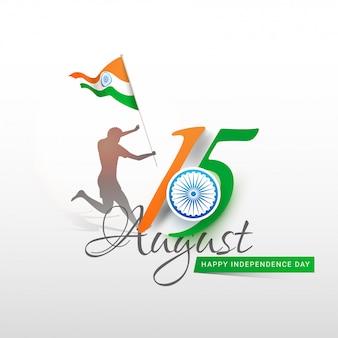 Silueta del hombre que sostiene la bandera india y corriendo.