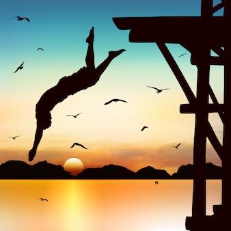 Silueta y hombre de salto en el crepúsculo con cielo azul.