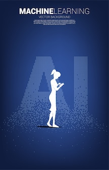 La silueta del hombre usa el teléfono móvil con la redacción de ai de la transformación de píxeles. concepto de aprendizaje automático y tecnología de inteligencia artificial