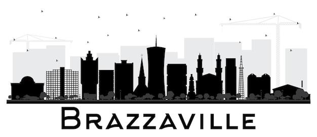 Silueta del horizonte de la ciudad de brazzaville república del congo con edificios negros aislados en blanco