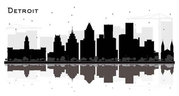 Silueta del horizonte de la ciudad de detroit michigan con edificios negros aislados en blanco. ilustración de vector. concepto de turismo y viajes de negocios con arquitectura moderna. paisaje urbano de detroit con hitos.