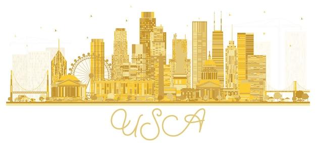Silueta del horizonte de la ciudad de estados unidos con rascacielos dorados y lugares emblemáticos ilustración vectorial