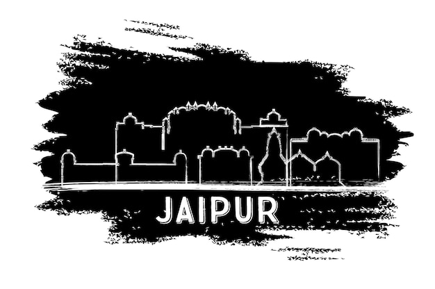 Silueta del horizonte de la ciudad de jaipur india. boceto dibujado a mano. ilustración de vector. concepto de turismo y viajes de negocios con arquitectura histórica. paisaje urbano de jaipur con hitos.