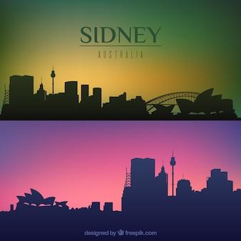 Silueta de horizonte de ciudad de sidney