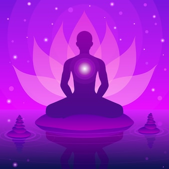 Silueta humana sentada y meditación sobre fondo de loto de fantasía