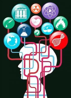 Silueta humana y símbolos de la ciencia
