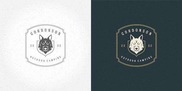 Silueta de ilustración de vector de emblema de logo de cabeza de lobo para camisa