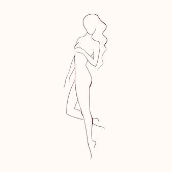 Silueta de joven hermosa mujer desnuda de pelo largo con figura delgada, dibujado a mano con líneas de contorno.