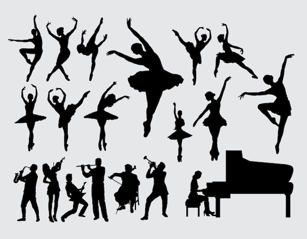 Silueta de jugador de ballet y música