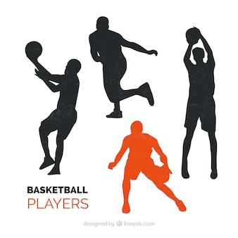Silueta con jugadores de baloncesto