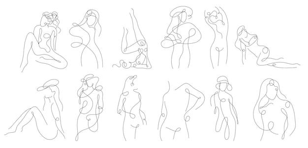 Silueta lineal continua del cuerpo femenino
