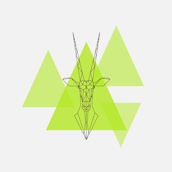 Silueta de líneas geométricas de cabeza de antílope oryx. ilustración vectorial.