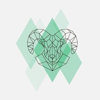 Silueta de líneas geométricas de cabeza de oveja de montaña aislada