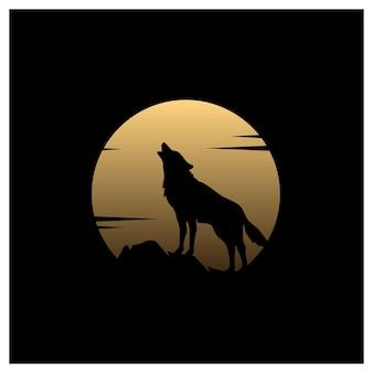 Silueta de lobo aullador con diseño de logotipo de ilustración de luna llena dorada