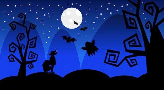 Silueta lobo gana en la luna sombras de miedo feliz ilustración de halloween truco o trato concepto vacaciones