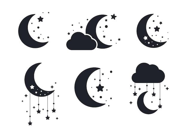 Silueta de la luna creciente y las estrellas en el cielo nocturno aislado en el fondo