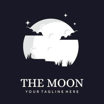Silueta de luna con logo de nubes