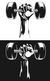 Silueta mano musculosa gimnasio con pesas redondas