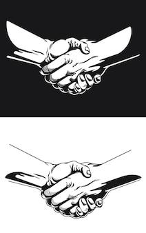 Silueta mano shake contorno negro ilustración