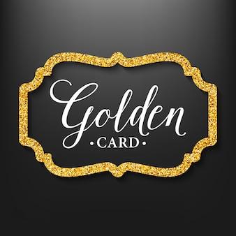 Silueta de marco de etiqueta en el brillo dorado