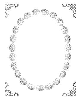 Silueta de marco floral con rosas y decoración de esquina negro sobre blanco