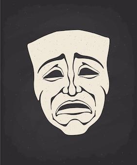 Silueta de la máscara de drama teatral en la ilustración de vector de pizarra de tiza