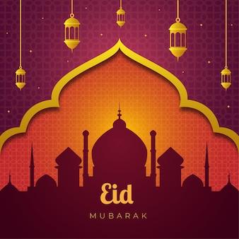 Silueta de la mezquita eid mubarak