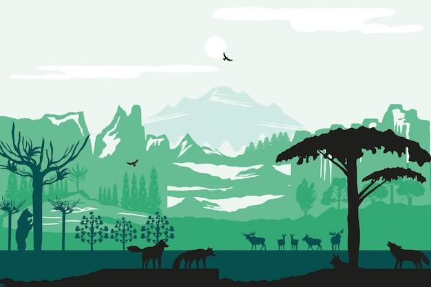 Silueta montañas animales árboles naturaleza