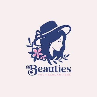 Silueta de mujer de belleza con diseño de logotipo de flor