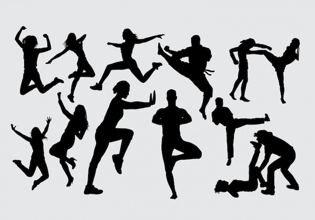 Silueta de mujer deporte feliz