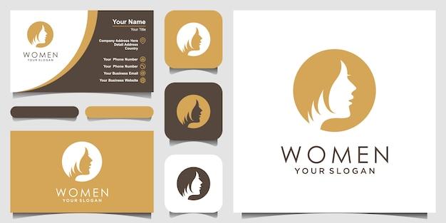 Silueta de mujer diseño de logotipo y tarjeta de visita, cabeza, logotipo de cara aislado. uso para salón de belleza, spa, diseño de cosméticos, etc.