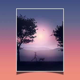 Silueta de una mujer haciendo jogging