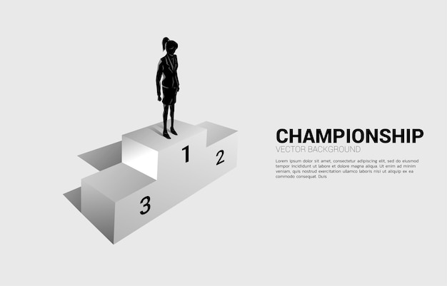 Silueta, de, mujer de negocios, posición, en, primer lugar, podio