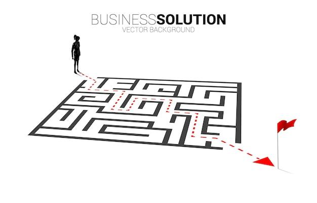 Silueta de mujer de negocios con ruta para salir del laberinto. banner de negocios para resolver problemas y encontrar ideas.