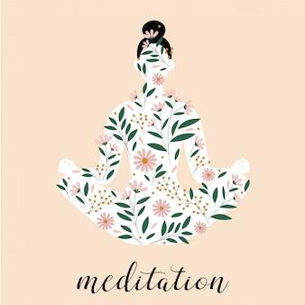 Silueta de mujer sentada en pose de meditación. silueta de pose de loto.