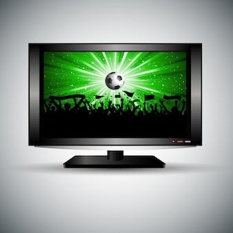 Silueta de una multitud de fútbol en una televisión lcd