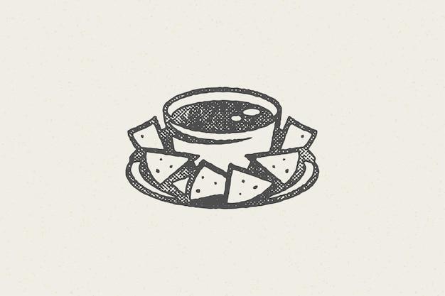 Silueta de nachos mexicanos en un tazón con logo de salsa